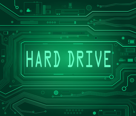 Abstract style illustration depicting printed circuit board components with a hard drive concept.. illustration