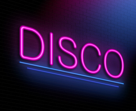 nightspot: Illustration depicting an illuminated neon sign with a disco concept.