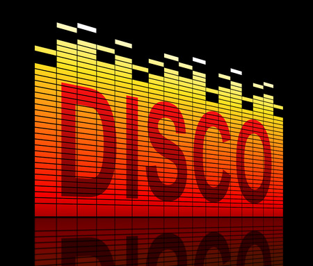 nightspot: Illustration depicting graphic equalizer level bars with a disco concept.
