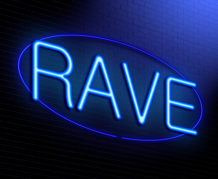 rave: Illustration depicting an illuminated neon sign with a Rave concept.