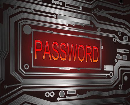 data entry: Abstract style illustration depicting printed circuit board components with a password concept..