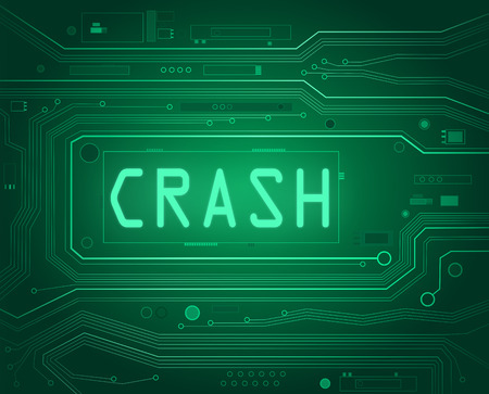 crashed: Abstract style illustration depicting printed circuit board components with a crash concept..