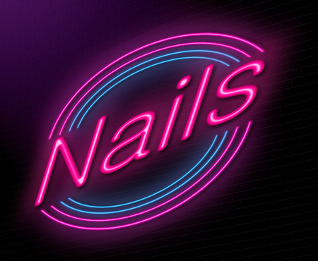nail bar: Illustration depicting an illuminated neon sign with a nails concept. Stock Photo