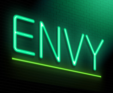envious: Illustration depicting an illuminated neon sign with an envy concept. Stock Photo