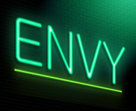 Ilustración que muestra un letrero de neón iluminado con un concepto de la envidia.