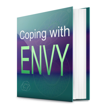 Illustration depicting a text book with an envy concept title. White background. Stock Illustration - 24099878