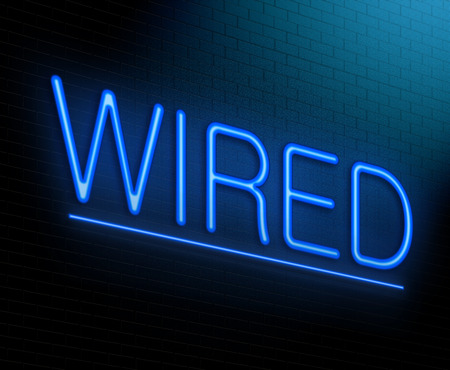 Illustration depicting an illuminated neon sign with a wired concept. Stock Photo
