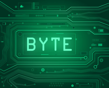 byte: Abstract style illustration depicting printed circuit board components with a byte concept.
