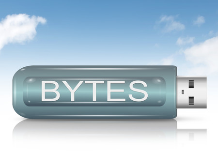 byte: Illustration depicting a usb flash drive with a Byte concept.