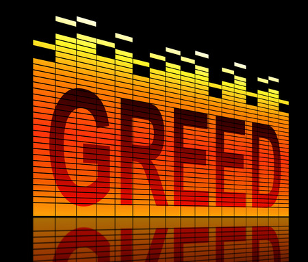self indulgence: Illustration depicting graphic equalizer level bars with a greed concept. Stock Photo