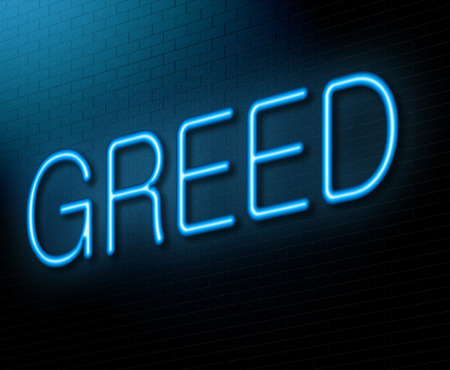 self indulgence: Illustration depicting an illuminated neon sign with a greed concept. Stock Photo
