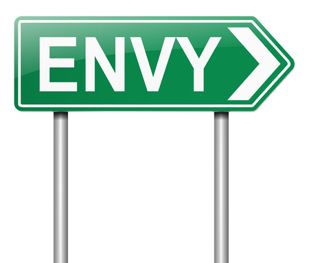 Illustration depicting a sign with an envy concept.