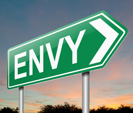 resentment: Illustration depicting a sign with an envy concept.