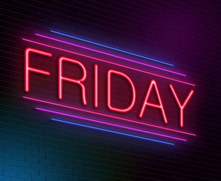 week end: Illustration depicting an illuminated neon sign with a Friday concept.