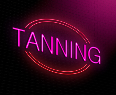 sun tanning: Illustration depicting an illuminated neon sign with a tanning concept. Stock Photo