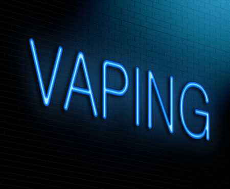 Illustration depicting an illuminated neon sign with a vaping concept. 스톡 콘텐츠