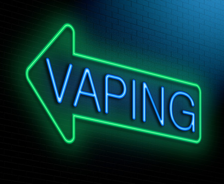 Illustration depicting an illuminated neon sign with a vaping concept. Stock Photo