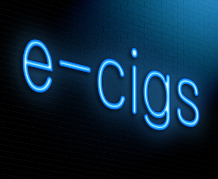 e cigarette: Illustration depicting an illuminated neon sign with an e-cigarette concept. Stock Photo