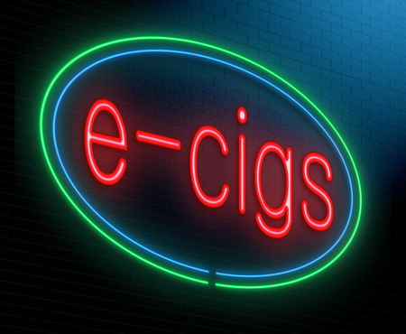 Illustration depicting an illuminated neon sign with an e-cigarette concept. Archivio Fotografico