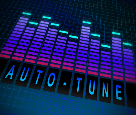 tuned: Illustration depicting graphic equalizer level bars with an Auto-tune concept. Stock Photo