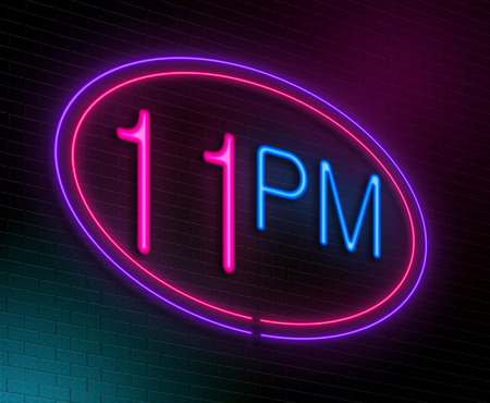 pm: Illustration depicting an illuminated neon sign with a 11pm concept.