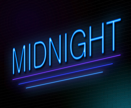 nighttime: Illustration depicting an illuminated neon sign with a midnight concept.