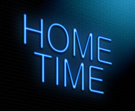 socializando: Ilustración que muestra un letrero de neón iluminado con un concepto de tiempo a casa.
