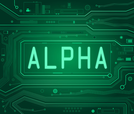 alpha: Abstract style illustration depicting printed circuit board components with an Alpha concept.