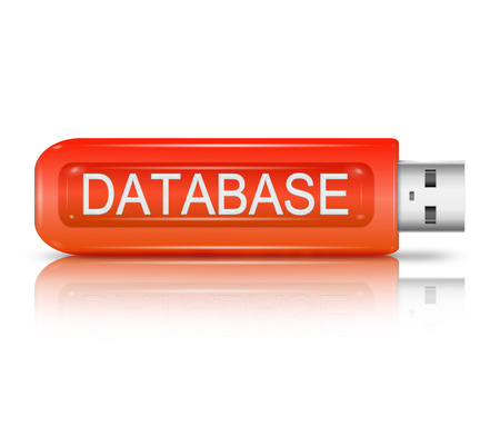 backing: Illustration depicting a usb flash drive with a database concept. Stock Photo
