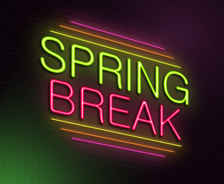recess: Illustration depicting an illuminated neon sign with a spring break concept.