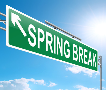 recess: Illustration depicting a sign with a spring break concept.
