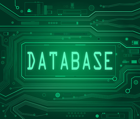 data base: Abstract style illustration depicting printed circuit board components with a database concept.