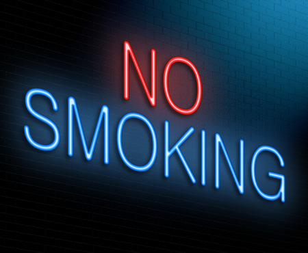 quit smoking: Illustration depicting an illuminated neon sign with a no smoking concept. Stock Photo