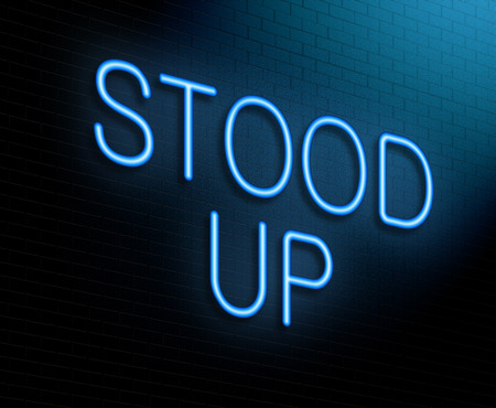 stood up: Illustration depicting an illuminated neon sign with a stood up concept. Stock Photo
