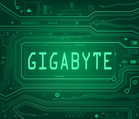 gigabyte: Abstract style illustration depicting printed circuit board components with a gigabyte concept.