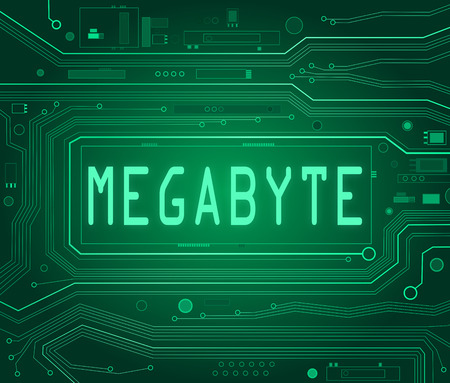 mb: Abstract style illustration depicting printed circuit board components with a megabyte concept.