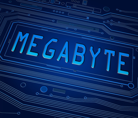 megabyte: Abstract style illustration depicting printed circuit board components with a megabyte concept.