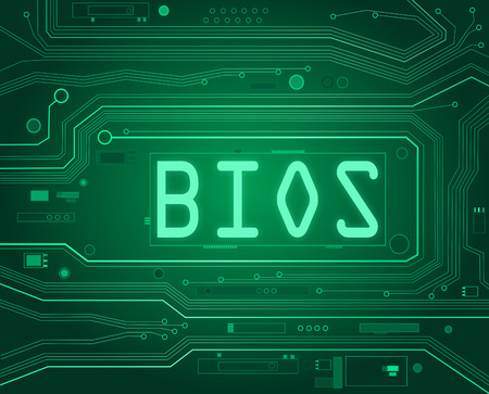 outputs: Abstract style illustration depicting printed circuit board components with a bios concept.. Stock Photo