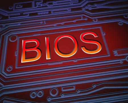 input output: Abstract style illustration depicting printed circuit board components with a bios concept.. Stock Photo