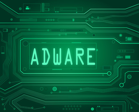 adware: Abstract style illustration depicting printed circuit board components with an adware concept..