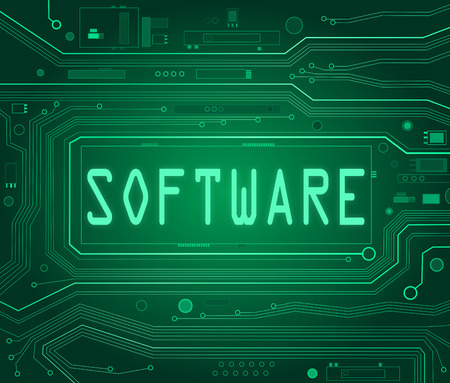 freeware: Abstract style illustration depicting printed circuit board components with a software concept.
