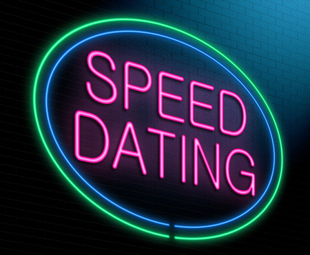 Illustration depicting an illuminated neon sign with a speed dating concept.