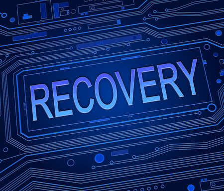 data recovery: Abstract style illustration depicting printed circuit board components with a recovery concept.
