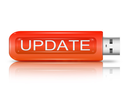 updating: Illustration depicting a usb flash drive with an update concept. Stock Photo
