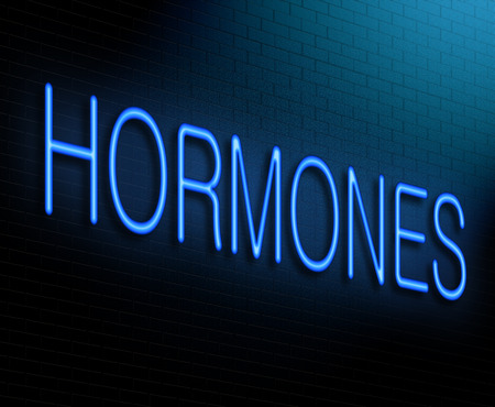 Illustration depicting an illuminated neon sign with a hormone concept.