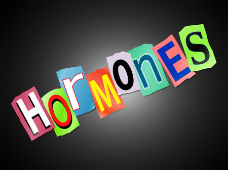 Illustration depicting a set of cut out printed letters arranged to form the word hormones.