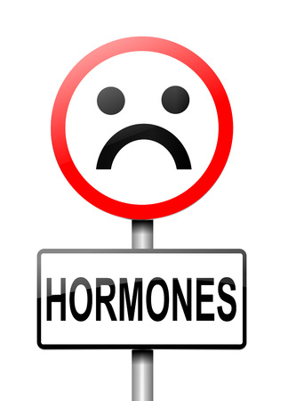 Illustration depicting a sign with a hormone concept. Archivio Fotografico