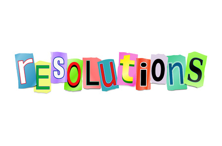 Illustration depicting a set of cut out printed letters arranged to form the word resolutions. Stock Photo