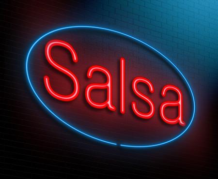 bailando salsa: Ilustraci�n que muestra un letrero de ne�n iluminado con un concepto de la salsa.