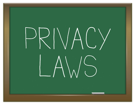 Illustration depicting a green chalkboard with a privacy laws concept.